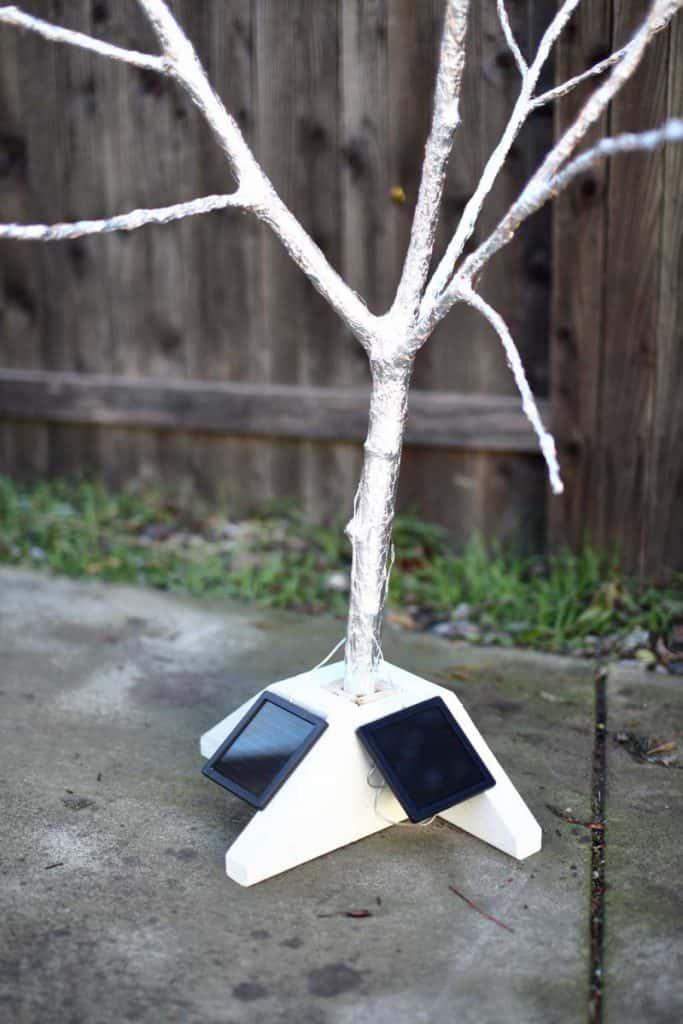 solar panels on the base of fairy tree