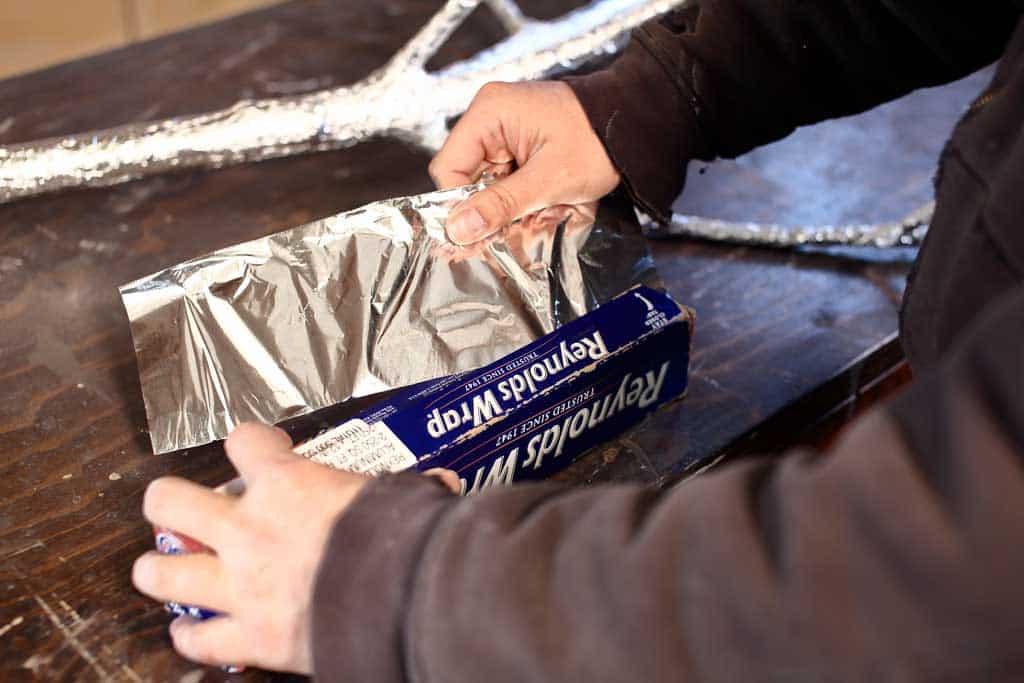 using aluminum foil wrap for fairy tree