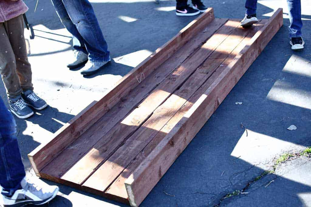 attaching lower side boards of the planter box