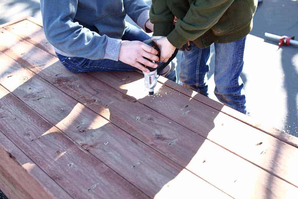 drilling holes thru bottom on planter box