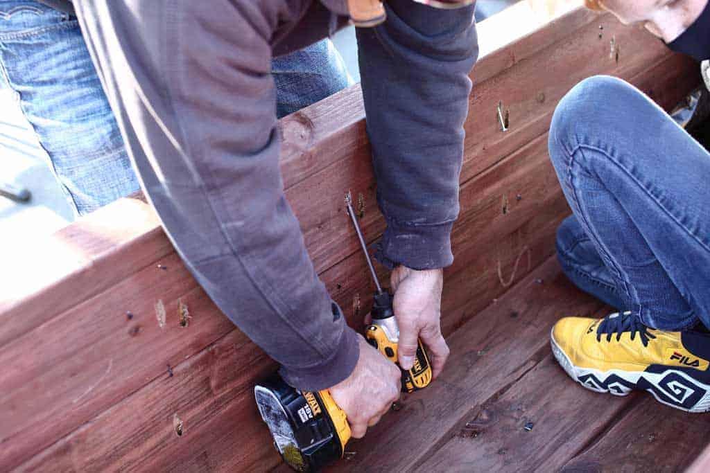 attaching trim around diy planter box