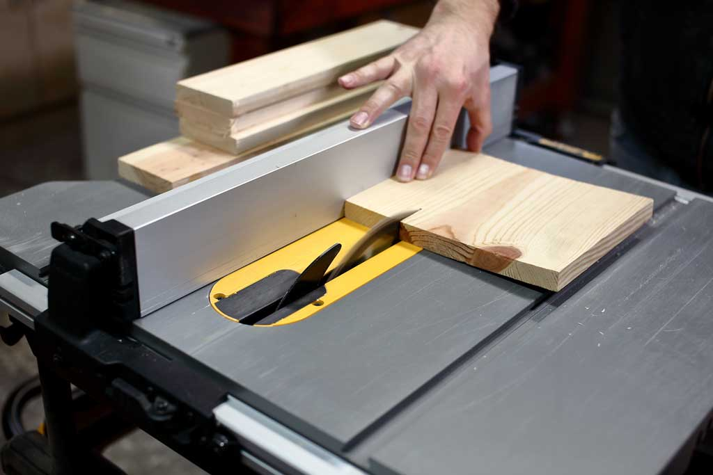 cutting wood with table saw