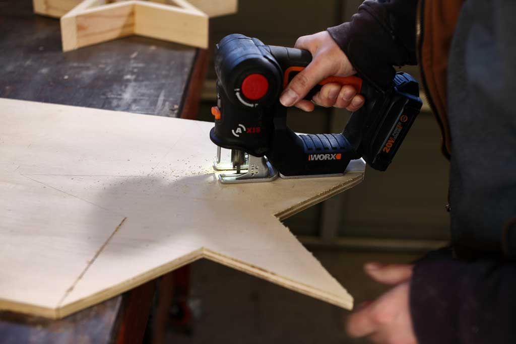 cutting out plywood with jig saw