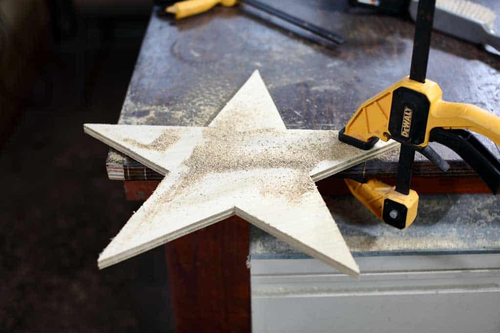 cutting out star from plywood
