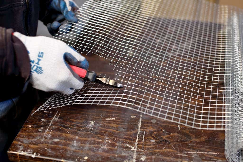 cutting out the wire mesh screen