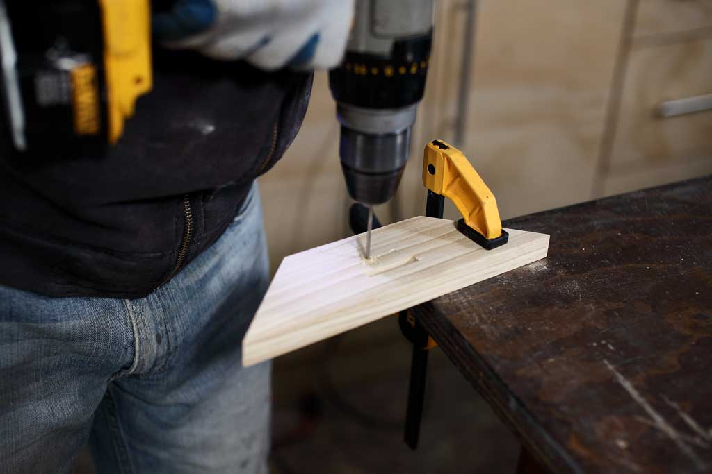 drilling hole in wood