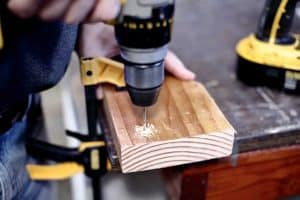 drilling pilot hole in wood