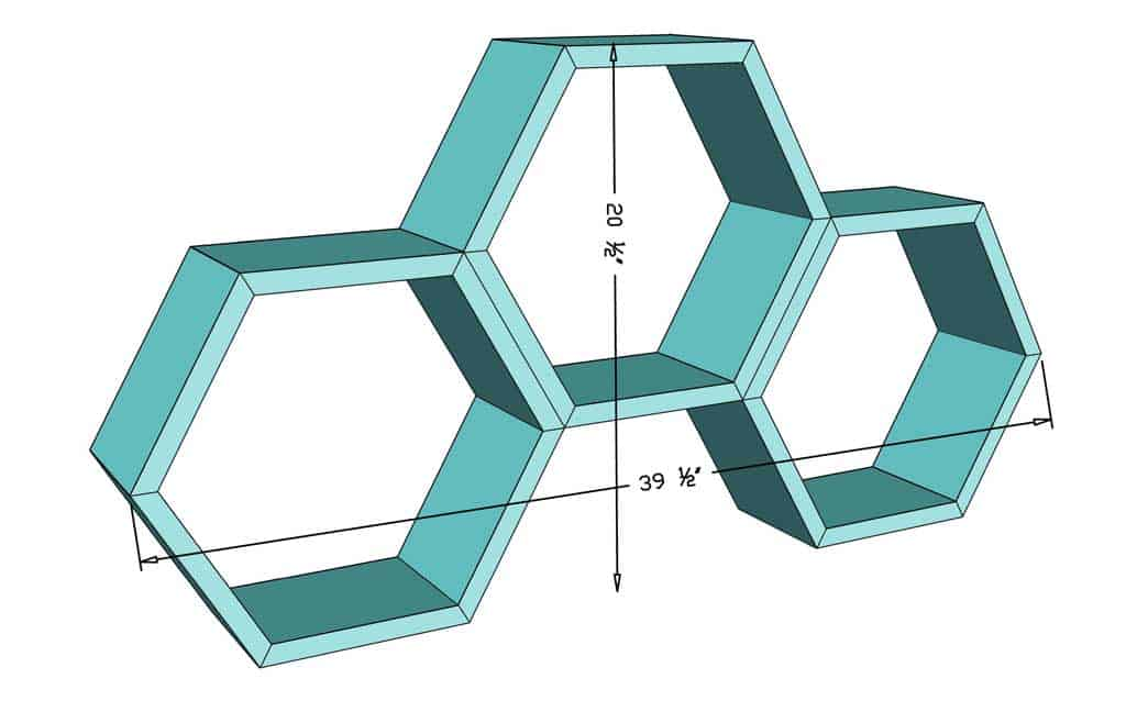 DIY honeycomb wall shelf dimensions