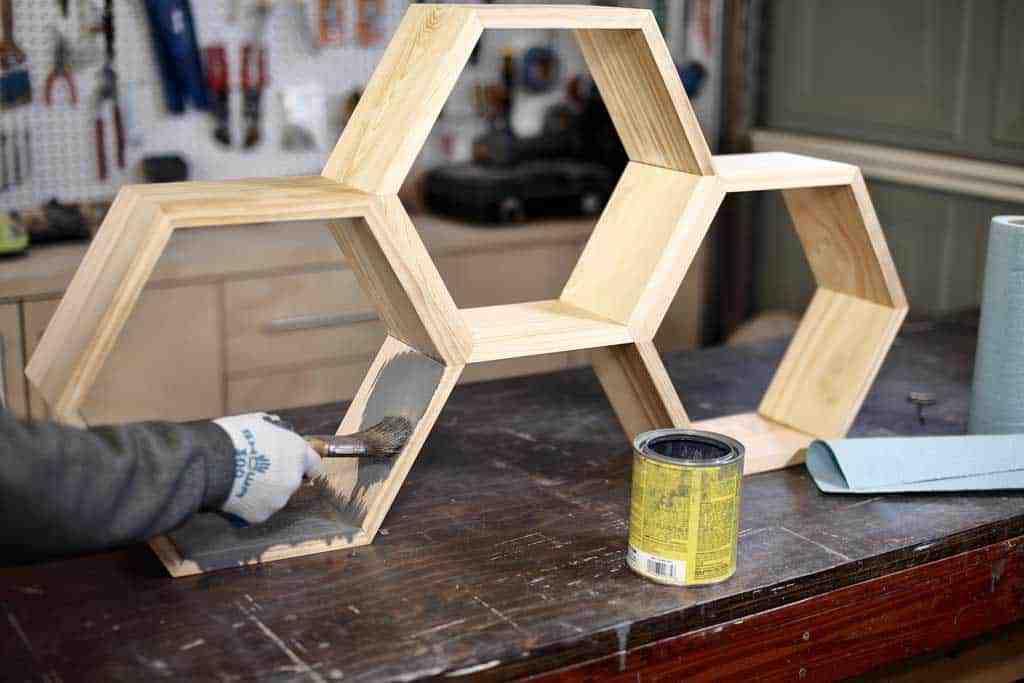 staining DIY honeycomb wall shelf