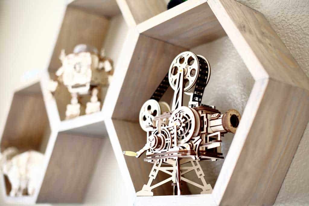 DIY Honeycomb wall shelf for kids