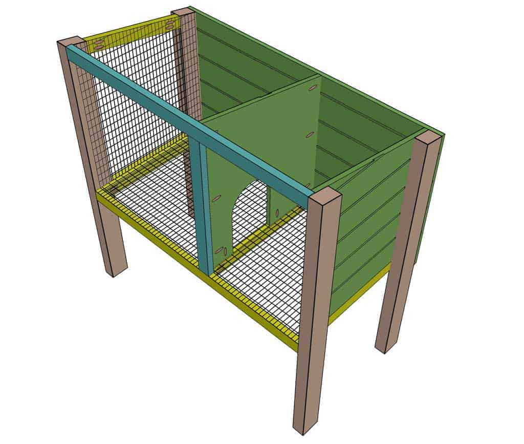 attaching the middle divider for the DIY rabbit hutch