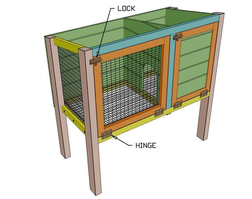 attaching hinges and latches on door of DIY rabbit hutch