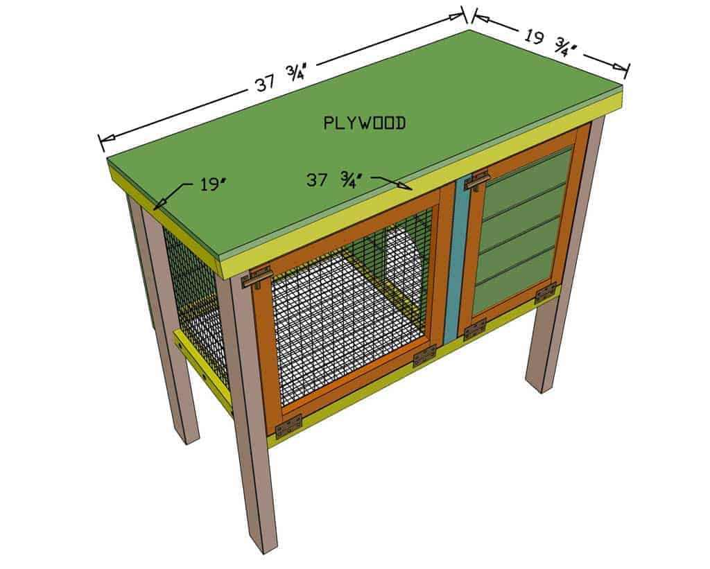 attach roof to the DIY rabbit hutch
