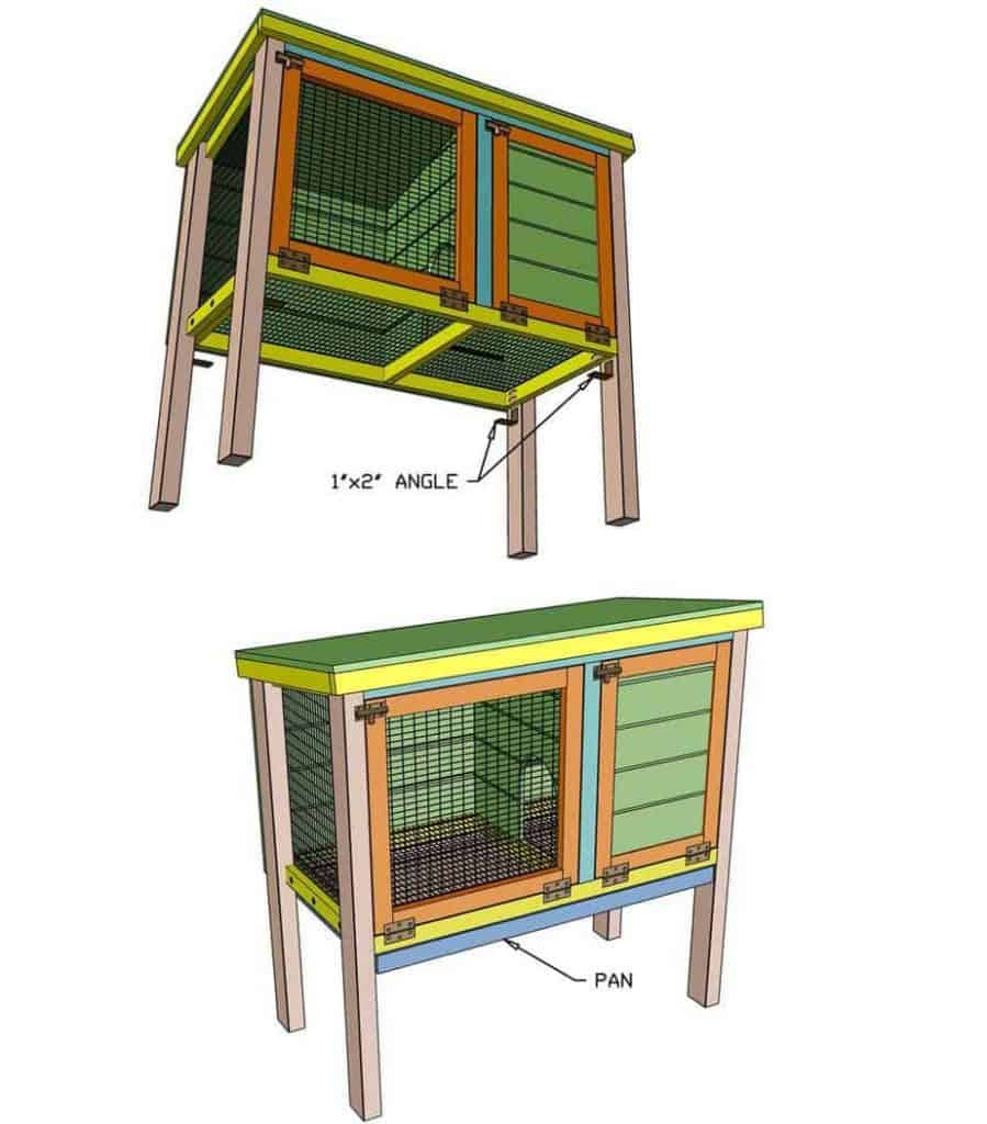 attaching angles for litter pan for DIY rabbit hutch