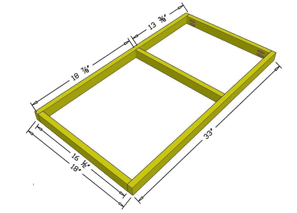 floor frame of the DIY rabbit hutch