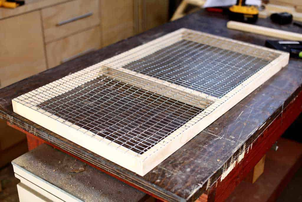 floor frame with mire mesh screen for DIY rabbit hutch