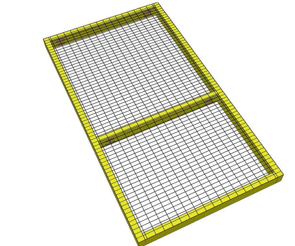 attaching wire mesh screen to floor frame DIY rabbit hutch