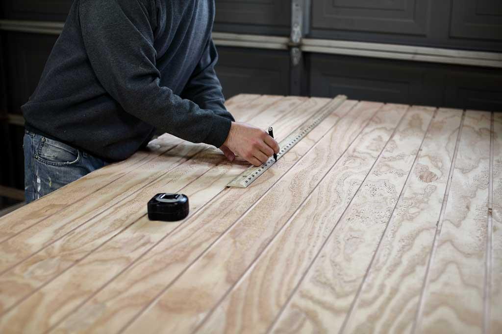 measuring siding plywood for DIY rabbit hutch