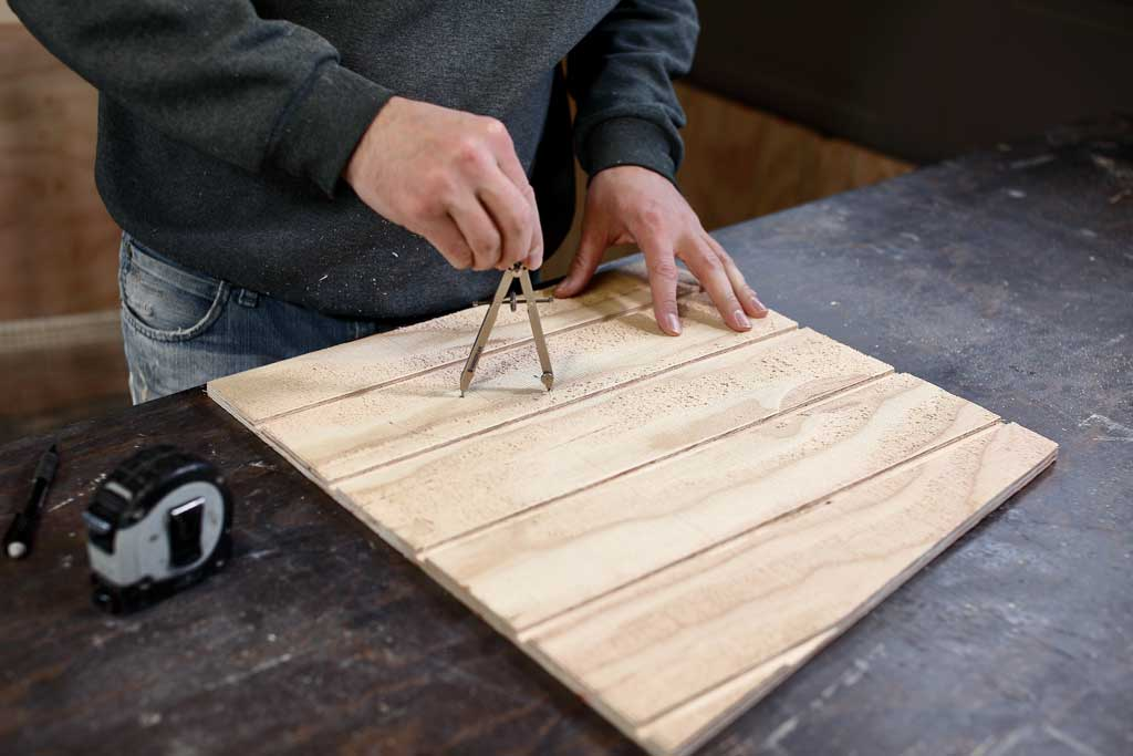 using compass to draw a circle on plywood