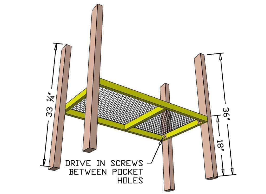 attaching floor frame to legs of DIY rabbit hutch