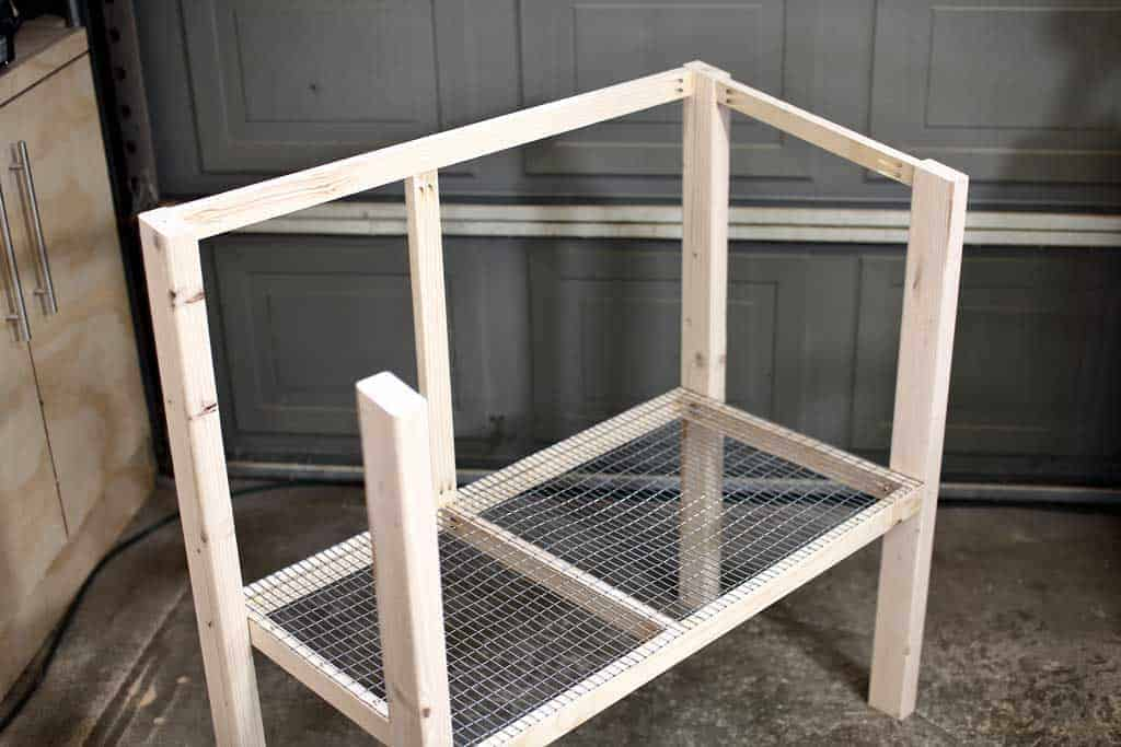attaching the front frame of DIY rabbit hutch