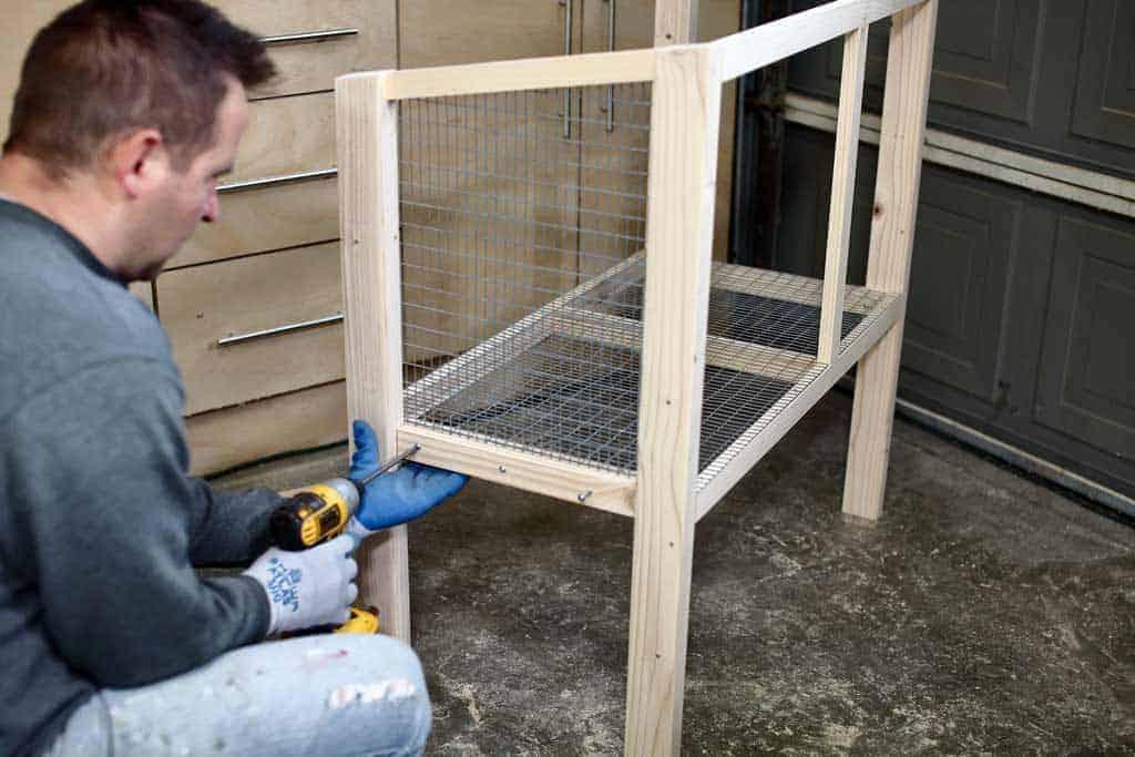 attaching trim to DIY rabbit hutch