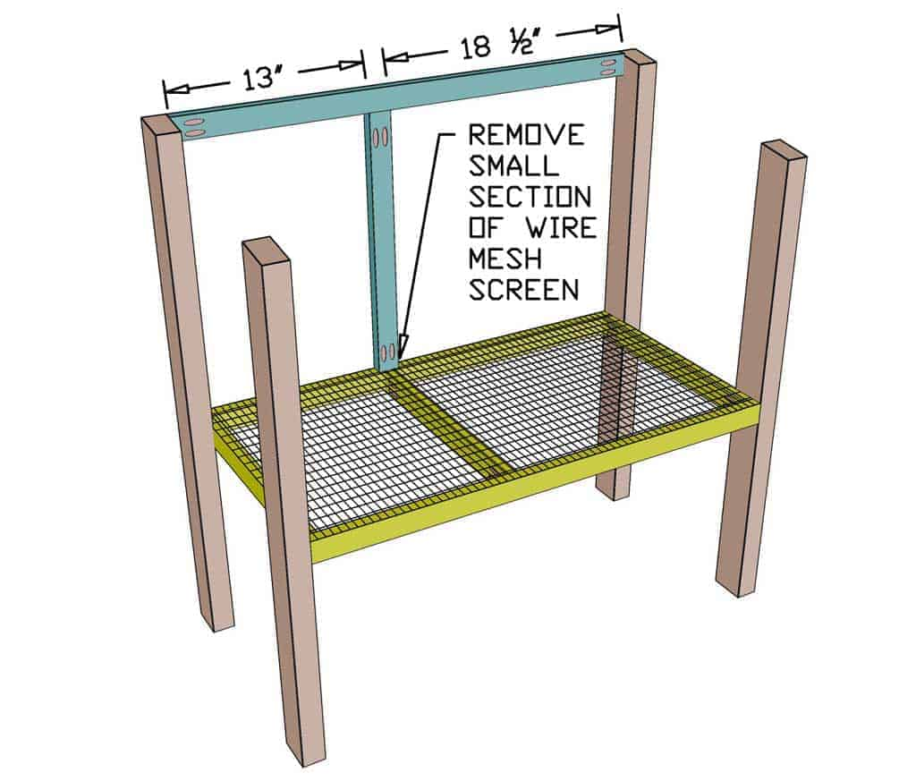 attaching front frame of the DIY rabbit hutch