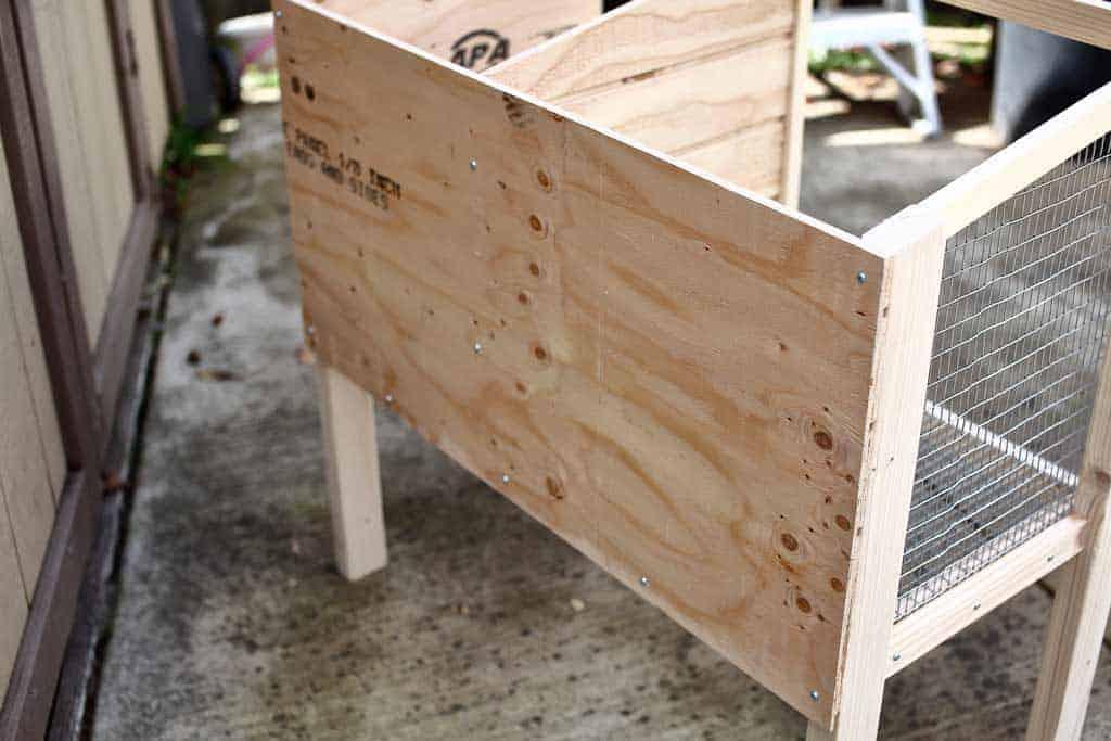 backboard of DIY rabbit hutch