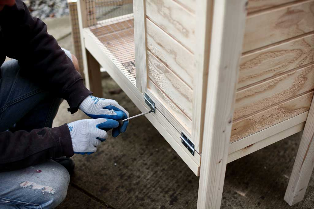 attaching hinges to doors of the DIY rabbit hutch