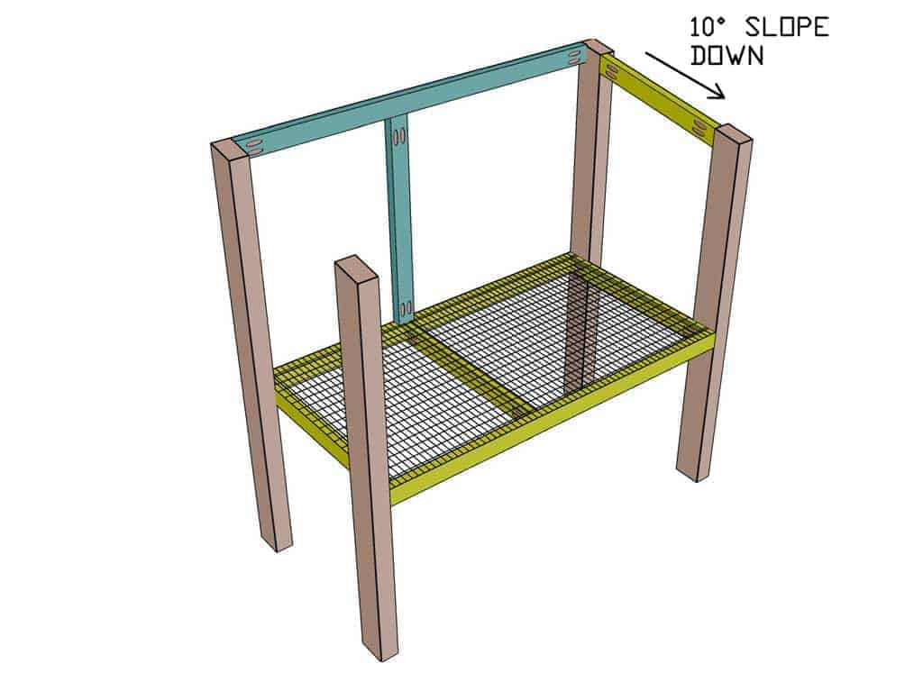 attaching the support board for mire mesh screen of the DIY rabbit hutch