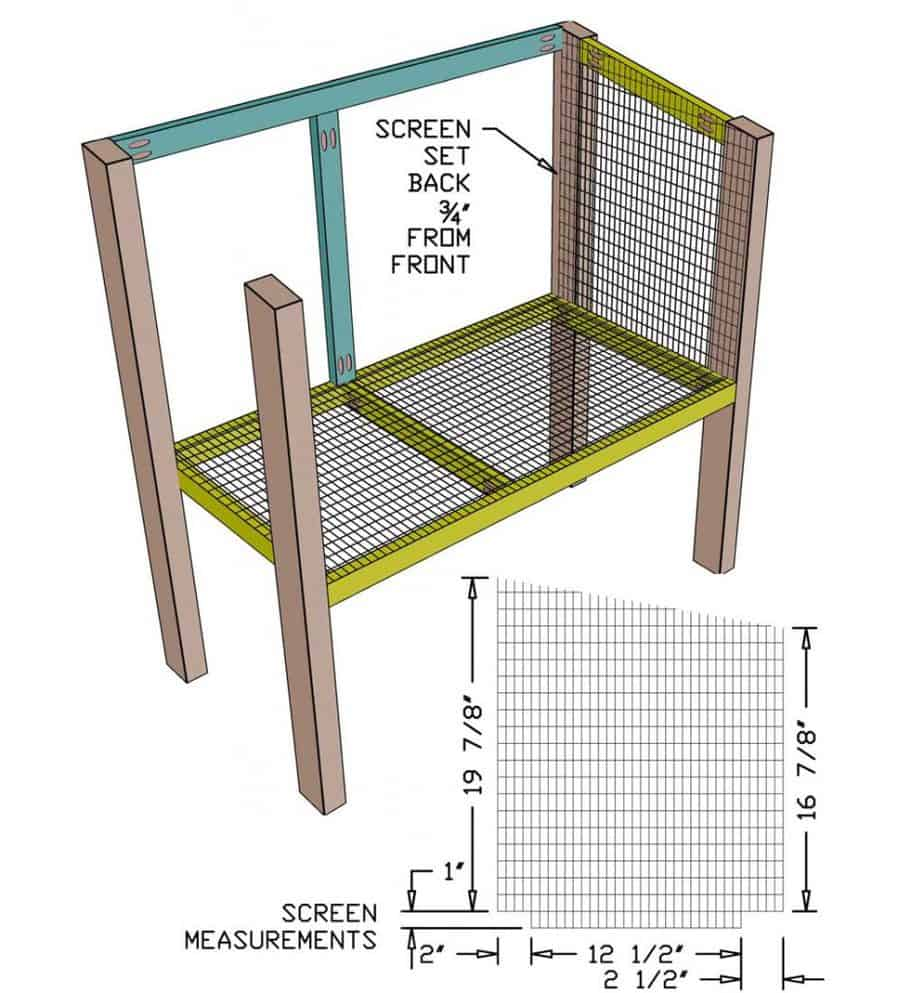 attaching wire mesh screen to the DIY rabbit hutch
