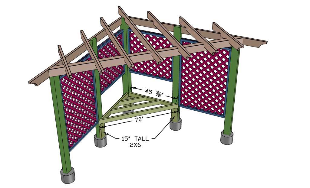 installing seating frame for arbor trellis