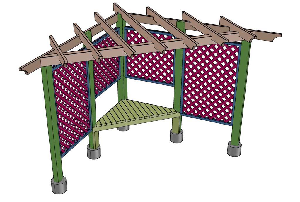 installing seating for arbor trellis