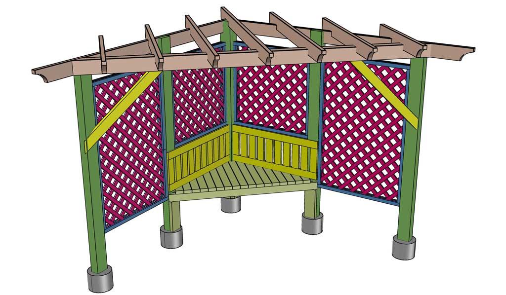 adding diagonal supports for garden trellis