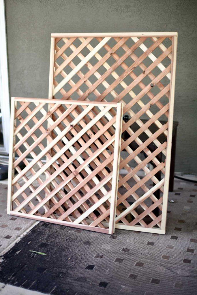 trellis panels for DIY Garden Arbor with a Bench