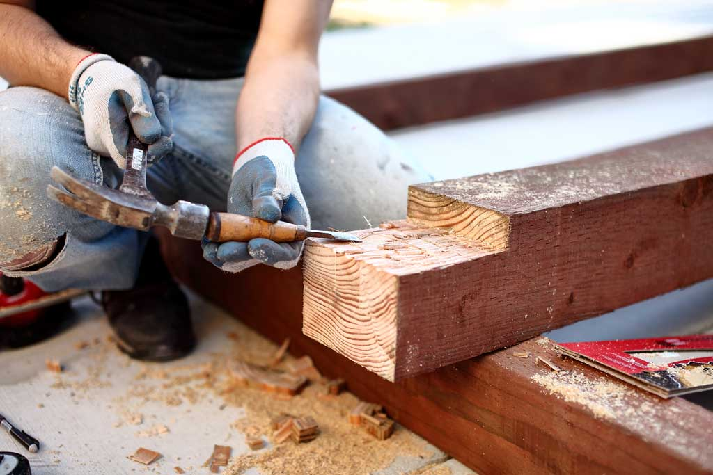 cutting notches for post of DIY Garden Arbor with a Bench