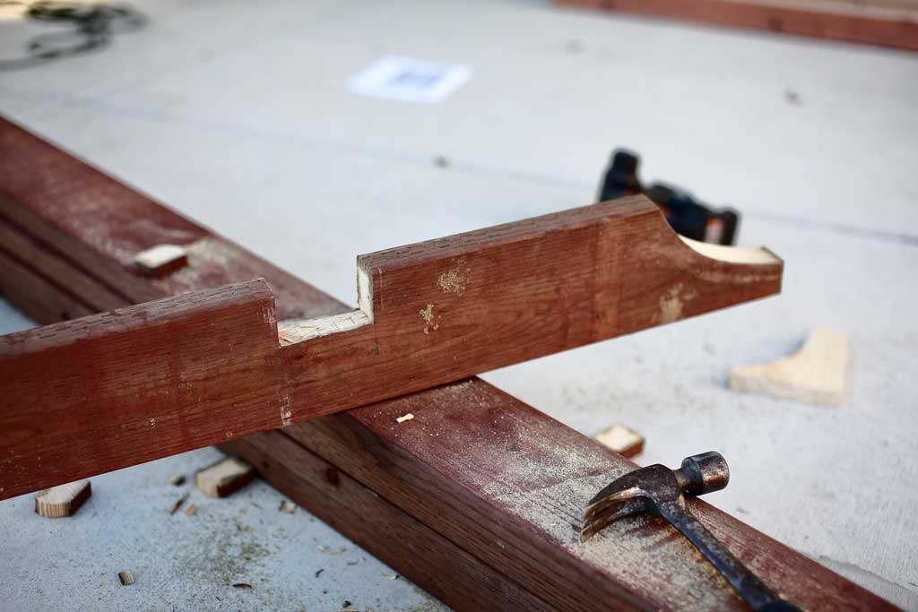 cutting notches in roof trusses for arbor