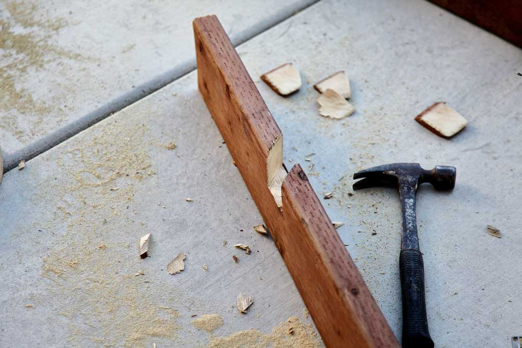 cutting notches with wood