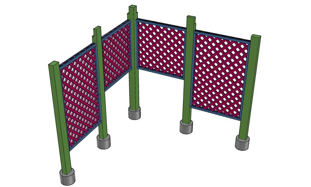 installing trellis panels for DIY Garden Arbor with a Bench
