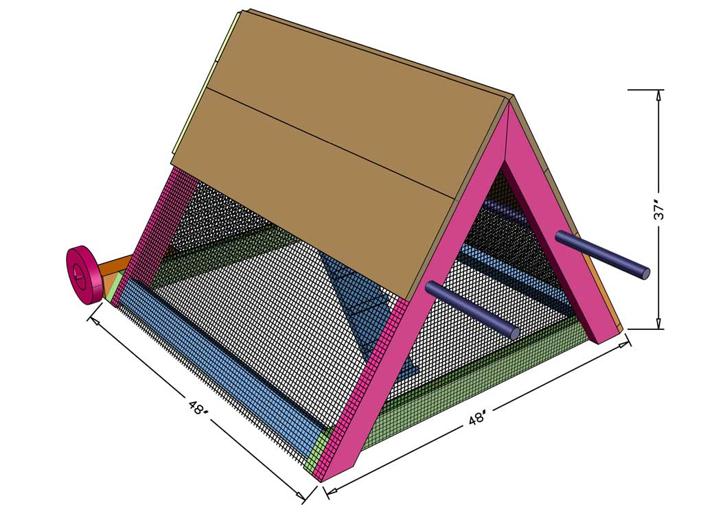 DIY mobile triangle-shape chicken coop dimensions