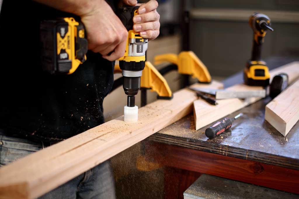drilling holes in wood