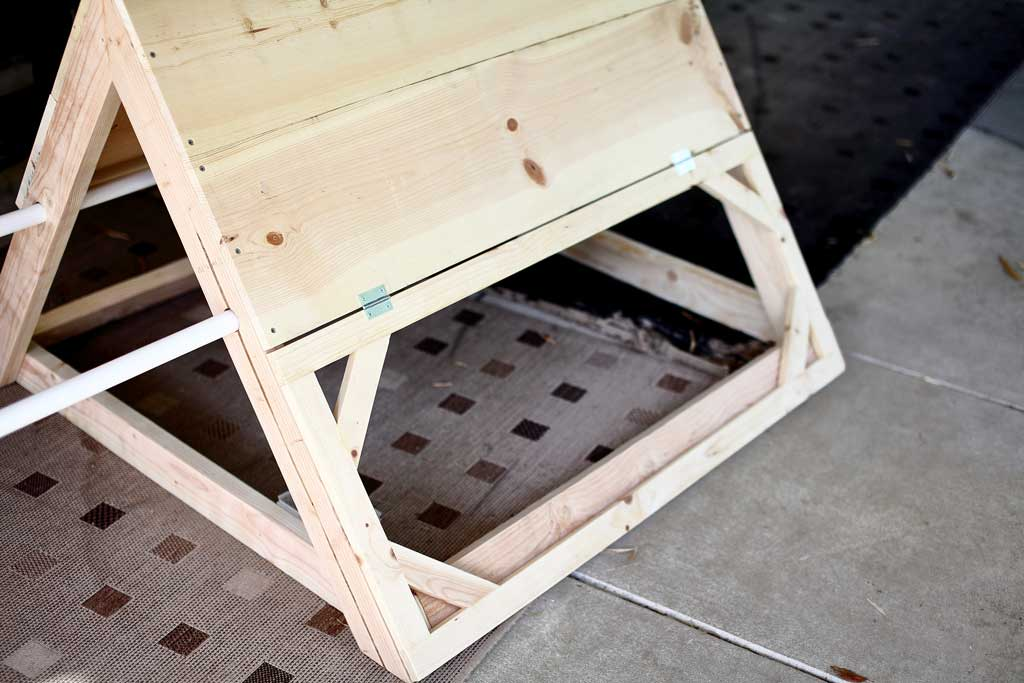 attaching side door frame for the chicken coop
