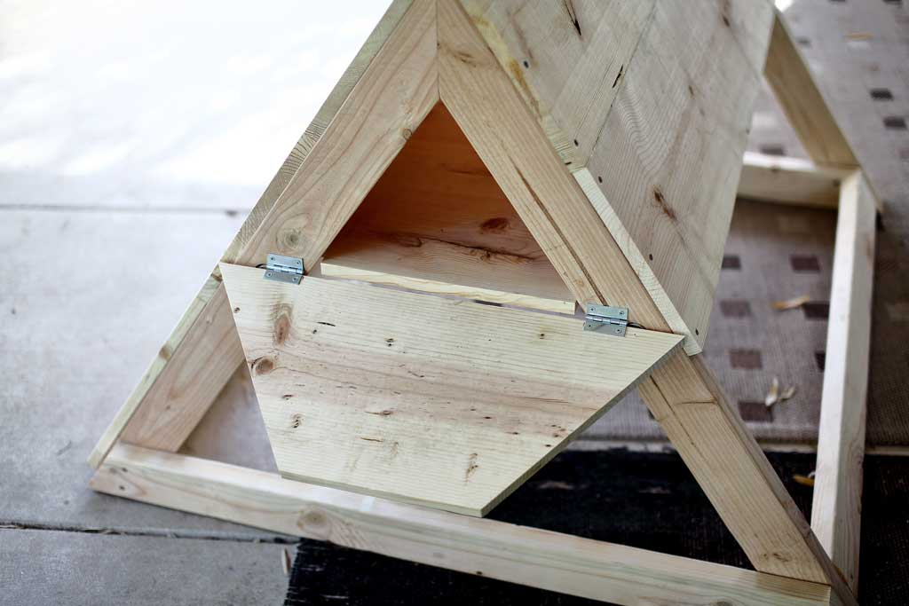 attaching backdoor for the chicken coop