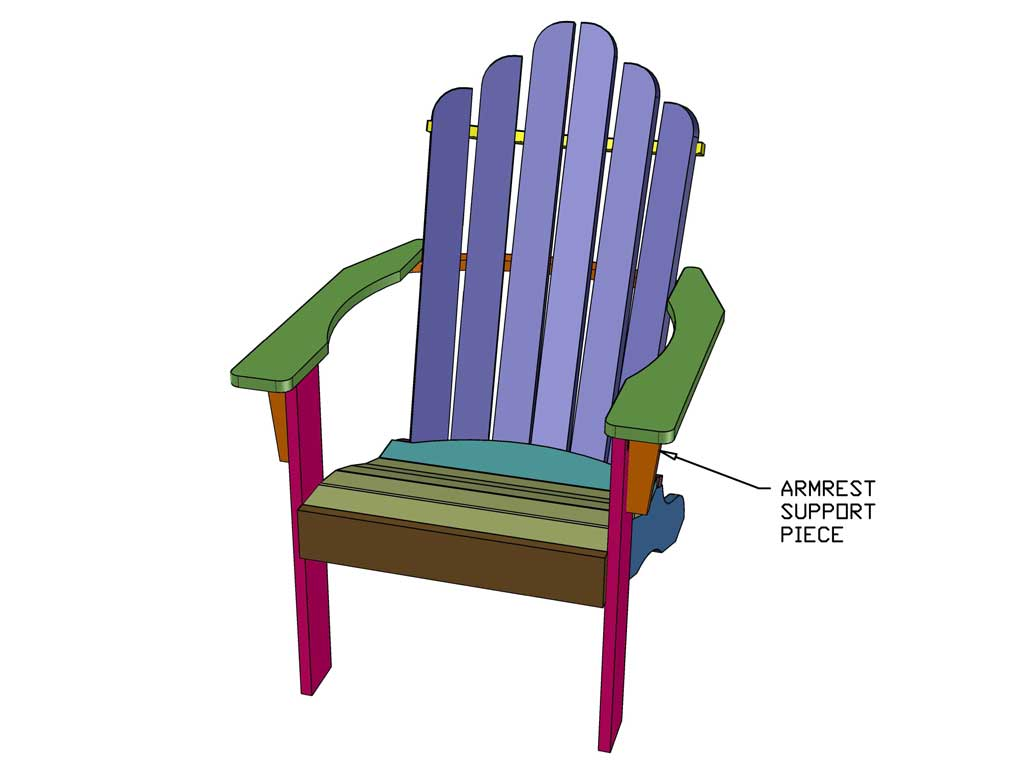 attaching arm rest supports for Adirondack chair