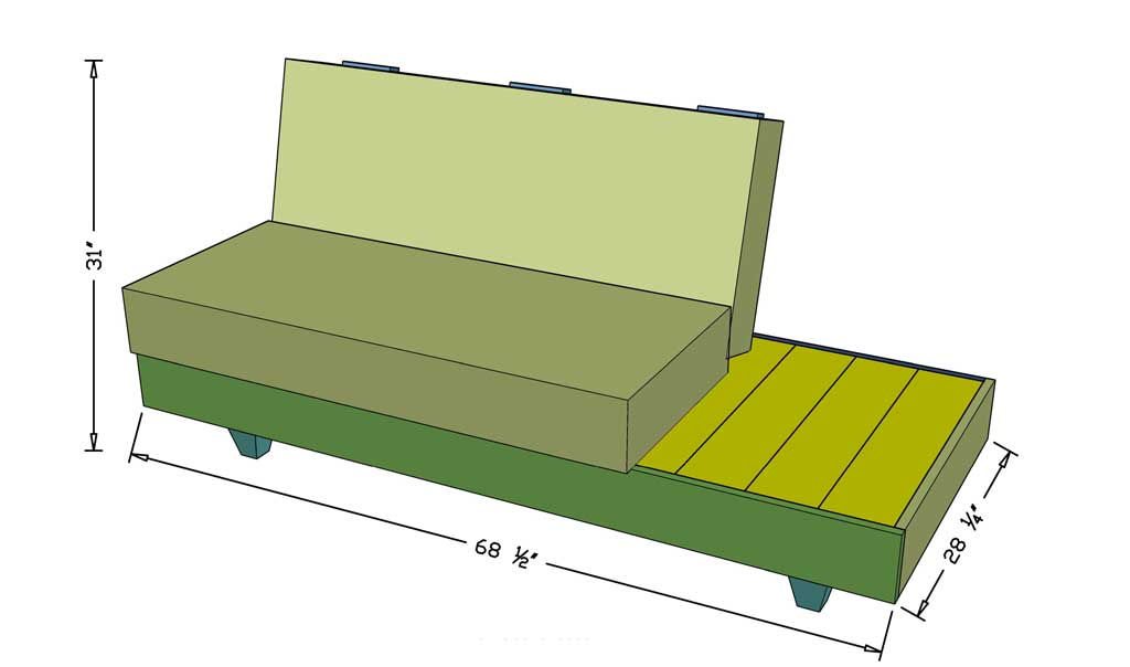 DIY outdoor sofa with cushions dimensions