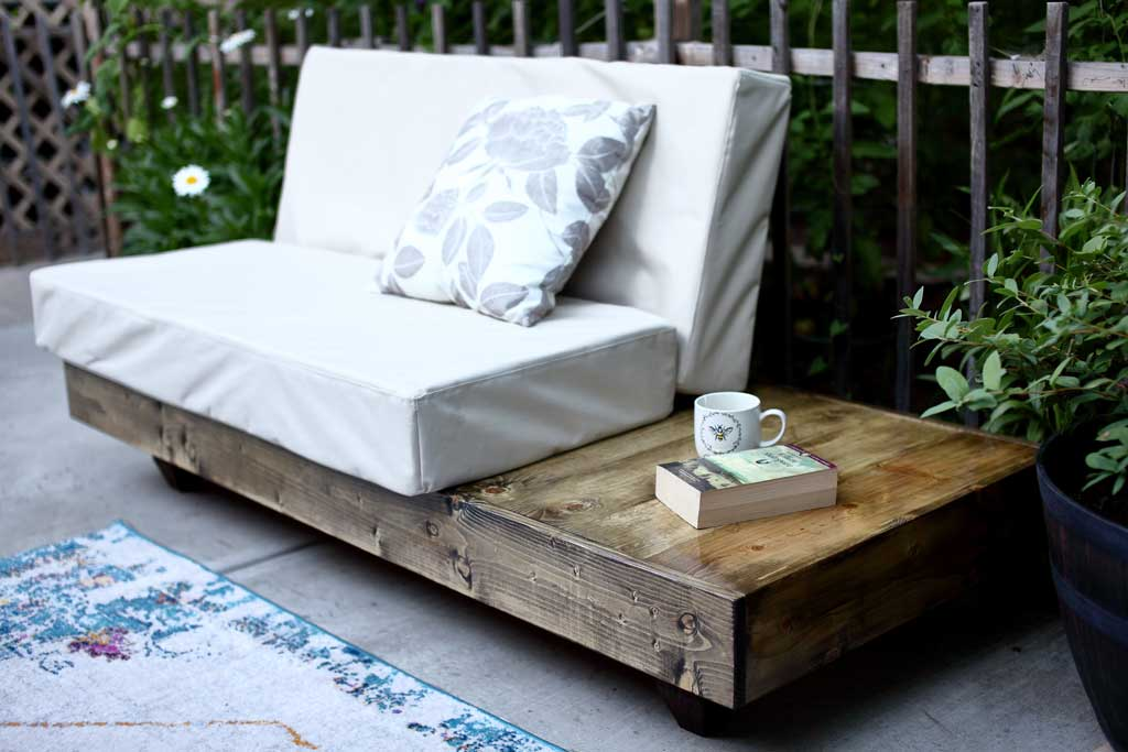 DIY outdoor sofa with cushions