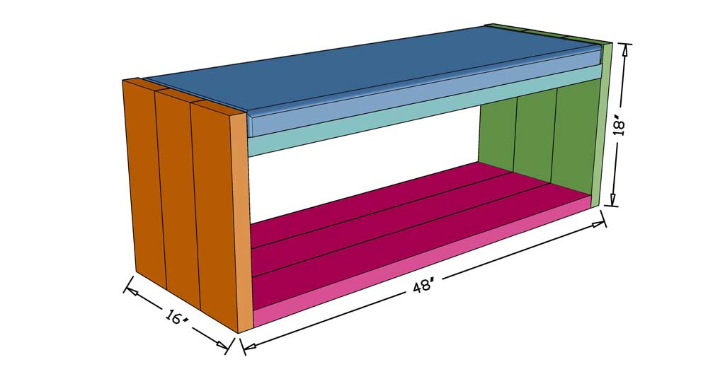 DIY Bench with Fabric Seat dimensions