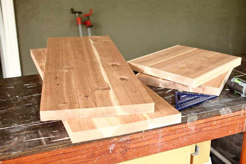 sections of bench to be assembled