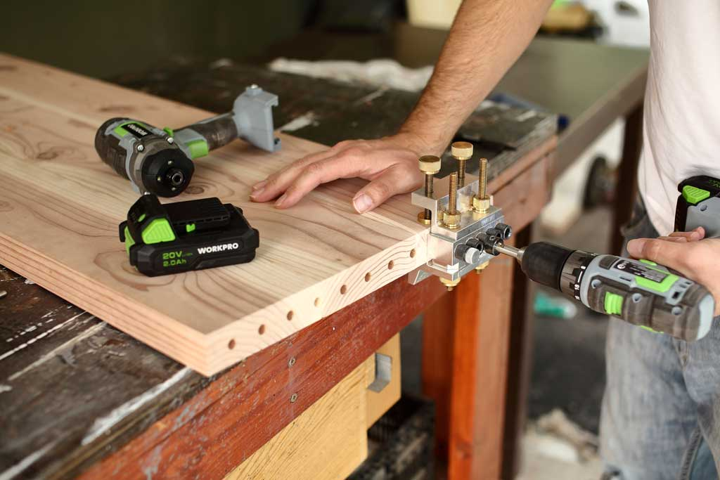 drilling dowel holes to make a bench
