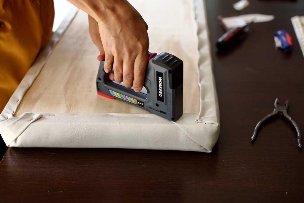 staple fabric to plywood